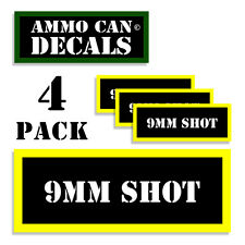 9MM SHOT Ammo Can Stickers Ammunition Gun Case Label 9 MM Decal 4 pack BLYW