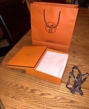 "Hermes Authentic Empty Gift Box, Ribbon, Tissue & Bag 8 1/4"" x 8 1/4"" x 2 1/4"""
