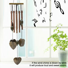8-Tubes Bell Outdoor Wind Chimes Wood Metal Heart-shaped Home Garden Decoration