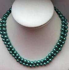 Natural 8mm Green South Sea Shell Pearl Round Gems Beads Necklace 36""