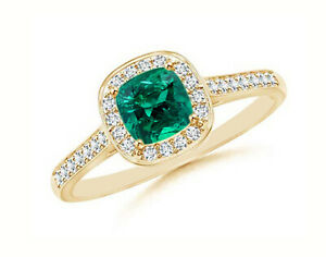 14KT Yellow Gold - 1.55Ct Natural Zambian Green Emerald With White Diamond Ring