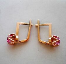 Russian Russia Solid 14K 583 Rose Pink Gold Pink Tourmaline EARRINGS 14kt 3.5 g.