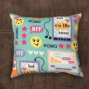 """Cute Handmade Fleece Emoji / Texting Accent - Throw Pillow 10"""" x 8"""""""