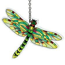 """Flame Skimmer Dragonfly Suncatcher Hand Painted Glass Amia Studios 6"""" x 4.5"""""""
