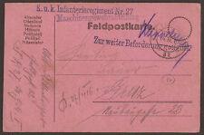 AUSTRIA / ITALY. WW1. FELDPOST. 1916. FPO 32. MACHINE GUN UNIT 27th REGIMENT. ZU