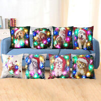 LD_ QA_ EG_ LIGHT UP CHRISTMAS SANTA CLAUS PILLOWCASE CUSHION COVER HOME DECOR