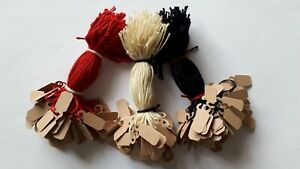 100 BUFF STRUNG JEWELLERY LABELS 19MM X 8MM SMALL PRICE TAGS SWING TICKETS