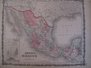 Hand Colored Map Johnson's Atlas Mexico Mazatlan Guadalajara Cancun Mexican 1863