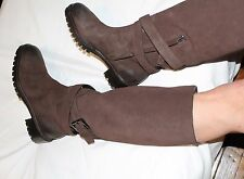 MAX MARA 37.5/7.5 Brown Suede Knee High Boots Lug Sole Distressed Effect ITALY