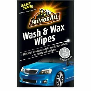 Armor All Wash and Wax Wipes 12 X-Large Wipes No Rinsing