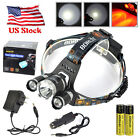 BORUiT 13000LM 3*XM-L Red/White LED HeadLamp Headlight Hunting Fishing Torch Kit