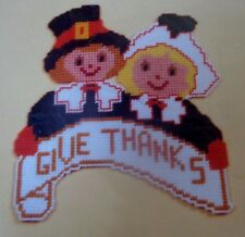 Give Thanks Pilgrims Thanksgiving Plastic Canvas Kit, NIP, Neddlecraft Ala Mode