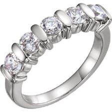 Bar Set 5 Round Diamond Band 14k Gold Anniversary Ring, 0.20 ct each, 1.02 tcw