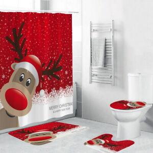 UK Christmas Bath Reindeer Shower Curtain Non-Slip Toilet Seat Cover Mat Rug