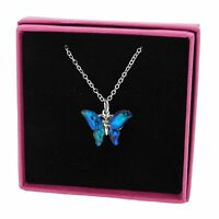 """Butterfly Necklace Blue Abalone Paua Shell Pendant Silver Plated Jewellery 18"""""""