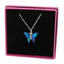 """Butterfly Abalone Paua Shell Blue Pendant Necklace Silver Plated Jewellery 18"""""""