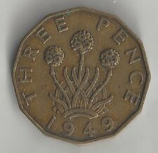 GREAT BRITAIN, 1949, 3 PENCE, NICKEL-BRASS, KM#873, VERY FINE+