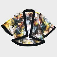 River Island Black Yellow Blue Watercolour Print Sheer Chiffon Kimono 8 - B55