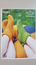 Heirloom Knitting Pattern #489 Slippers & Footstool to Knit in Chunky Yarn