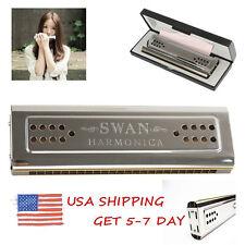 US STOCK Professional Swan 24 Holes Key Of C&G Double-side Tremolo Harmonic