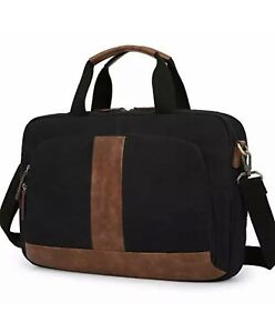 Laptop Bag 17.3 Inches  Canvas Computer Messenger Bag Briefcases for Men Black
