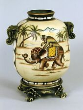 BEAUTIFUL PORCELAIN VASE HAND PAINTED SAFARI JUNGLE DESIGN MONKEY ELEPHANT