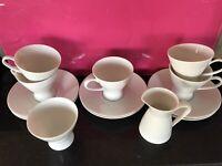 13 ROSENTHAL White 5 Cup + 6 Saucer Demi Tasse/ Expresso Cups  Sugar  & Milk Pit