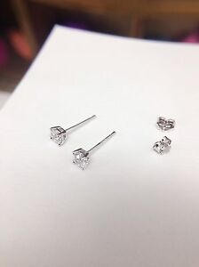 4mm stud earrings with clear cz 925 sterling silver stamped unisex gift