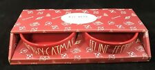 Meowy Catmas & Feline Festive Red Bowl Gift Set - Cat Dishes by Rae Dunn NEW