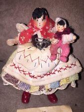 Antique European Doll House Family Czec Mother & Baby Felt Dolls~