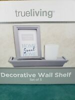 Decorative Wall Shelf 12x4x1.75,  4x6 Photo Frame, Glass Candle Cup, New In Box