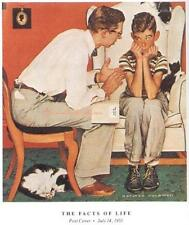 """Norman Rockwell Fatherly sex talk discussion print: """"THE FACTS OF LIFE"""" 11""""x15"""""""