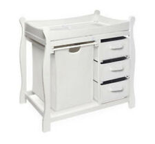 Badger Basket Company White Sleigh Style Changing Table w/Hamper/3 Baskets 2400
