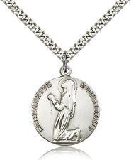 "Saint Bernadette Medal For Men - .925 Sterling Silver Necklace On 24"" Chain -..."
