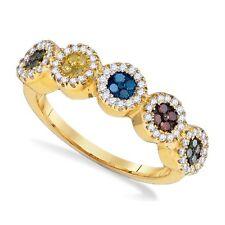 10K Yellow Gold Diamond Ring Multi-Colored Round Cluster Diamond Band .40ct