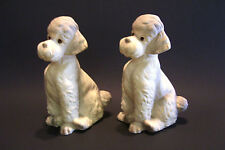 Vintage Poodle Dogs Pair 7 inches Tall  Foil Label Giftcraft  Japan Mid Century