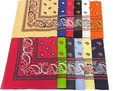 12 pack TWO TONE ASSORTED COLORS PAISLEY BANDANA wholesale pasiley colored #6002
