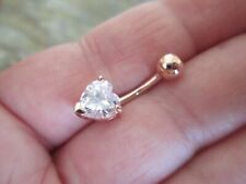 Rose Gold Over with 1.8Ct Heart Diamond 14 Gauge Belly Button Ring Made From 18K