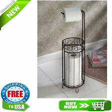 Free Standing Toilet Paper Tissue Roll Holder Stand Bronze Bathroom Organizer