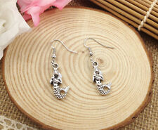 Jewelry mermaid earring @5 Free shipping Fashion Antique Silver