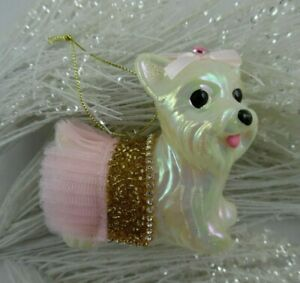 White SCOTTIE DOG with Gold Beaded & Pink Ruffled Skirt CHRISTMAS ORNAMENT New!