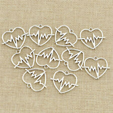 10pcs/lot  DIY ECG Heart Beat Charms Pendants Alloy Jewelry Making Accessories
