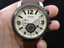 NEW OLD STOCK FOSSIL BQ1712 CHRONOGRAPH DATE LEATHER STRAP QUARTZ MEN WATCH