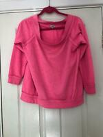 River Island Pink SweatShirt Size 12 Women Long Sleeve Great Condition (E110)
