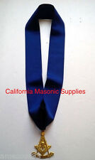 "Past Master Blue Grosgrain Ribbon Collar Golden 3"" Jewel Freemason  Pendent"