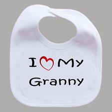 I Love My Granny Gran Baby Feeding Bib with Funny Heart Girl Boy Gift
