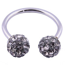 Stainless Steel Shamballa Double Crystal Disco Ferido Ball Horseshoes Piercing