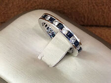 14K White gold Etenity band, Diamond and Saphire size 4.5