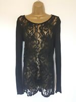 PHASE EIGHT BLACK LACE HIP LENGTH TOP SZ 8 IN VGC!