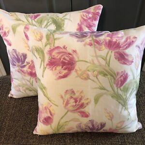 """2 X 21"""" large Laura Ashley""""Gosford Cyclamen """" cushions, hand made"""